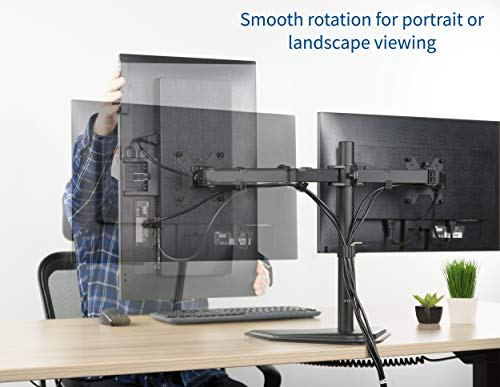 VIVO Dual LED LCD Monitor Free-Standing Desk Stand for 2 Screens up to 27 inches | Heavy-Duty Fully Adjustable Arms with Max VESA 100x100mm (STAND-V002F)