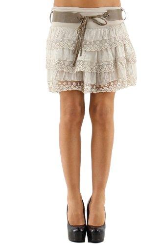 Arunta Minifalda de volantes para mujer con puntas y cinturón, varios colores