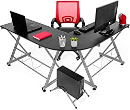 Best Choice Products Modular L-Shape Desk Workstation for Home, Office w/Wooden Tabletop Keyboard Tray - Black