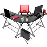 Best Choice Products Modular Wooden Sectional L-Shaped Workstation for Home, Office, Gaming, Study w/Wooden Tabletop, Metal Frame, Pull-Out Keyboard Tray, PC Tower Stand - Black