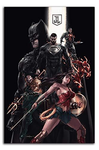 Póster impreso de la Liga de la Justicia, 61 x 91 cm, diseño de superhéroe superman murciélago y mujer maravilla