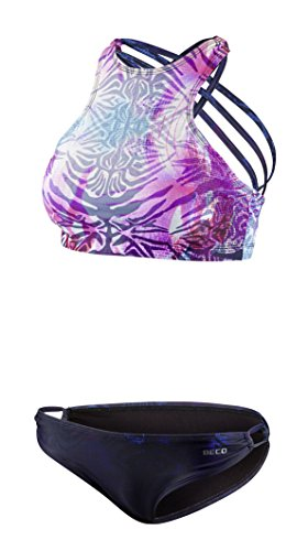 Beco Damen Bikini Set sportlicher High Neck Schnitt mit gekreuzten Spaghettiträgern, herausnehmbare Pads, A und B Cup (Marine/bunt), 40