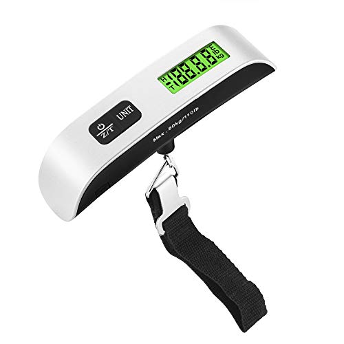 a amvontz Digital Travel Luggage Scale: 80/110lbs Baggage Handheld Portable Hook Large Floor Based Duty Chargeable Prime Mechanical Measuring Manual Battery Heavy Electronic Hanging Suitcase Weight