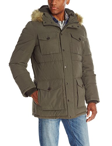 Tommy Hilfiger Men's Micro Twill Full-Length Hooded Parka Coat, Olive, XX-Large