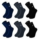 EB Prime Calcetines de Algodón para Hombre y Mujer, 6 Pares, Tamaño EU 43-46, Negro Gris Azul, Fabricado en la Europe.