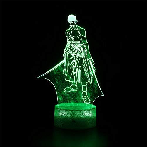 Lámpara de ilusión 3D 3D Luz de noche de una pieza Roronoa Zoro A 3D lámpara de luz 16 colores cambiar con remoto vacaciones y regalos de cumpleaños Ideas para niños