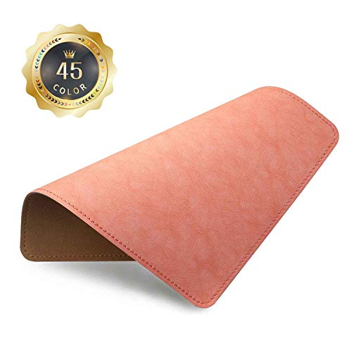 PU Leather Mouse Pad with Stitched Edge Micro-Fiber Base with Non-Slip, Waterproof, Mouse Pad for Computers, Laptop, Office & Home,1 Pack, 8inch11inch (Pink)