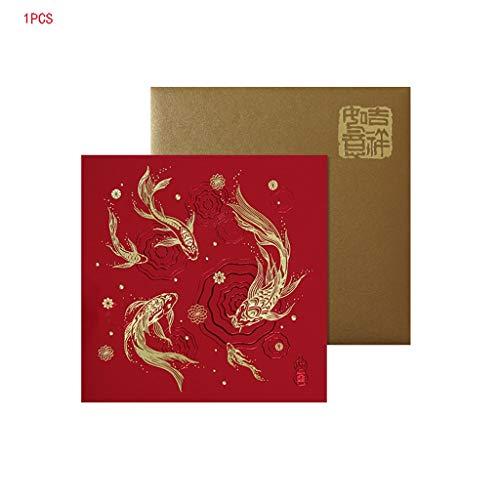 Biglietto di Auguri Cartolina Cartolina Stile Cinese Tutte Le Occasioni Biglietto di Auguri di Natale Animale Biglietto di Auguri di Natale (Color : B)