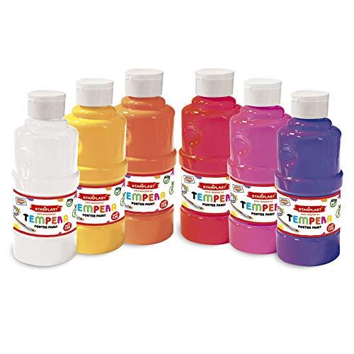 Pack 6 Témperas Líquidas, Pintura Base Agua, 250ml, Lavable para Fiestas, Estudiantes de Arte, Artístas, Colores Cálidos