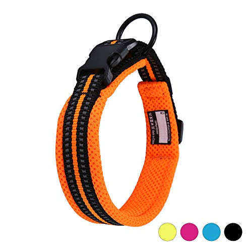 Kaka Mall Hundehalsband Verstellbare Nylon Hunde Halsband Atmungsaktives 3M Reflektierend Halsband (M,Orange)