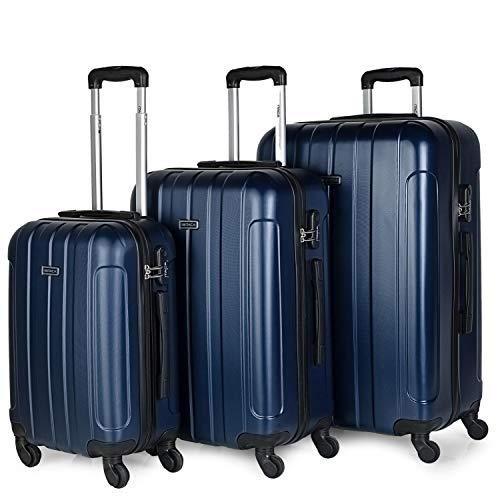 ITACA - Juego Maletas de Viaje rígidas 4 Ruedas Trolley 55/64/73 cm abs. s cómodas prácticas y Ligeras. pequeña Cabina Mediana y Grande 771100, Color Marino