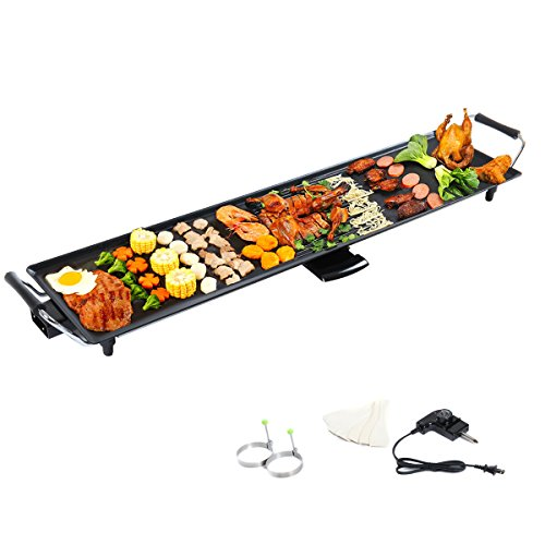 Lotus Analin Grid Electric Teppanyaki Table Top Grill Griddle BBQ Barbecue Plate Camping, Black
