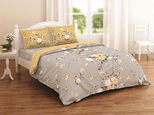 Spaces Blissful Glory Grey Floral Double Bedsheet with 2 Pillow Cover Set