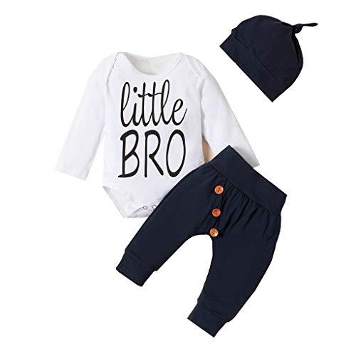 Conjunto de pantalones de botón sólido para recién nacido, con sombrero, para otoño e invierno