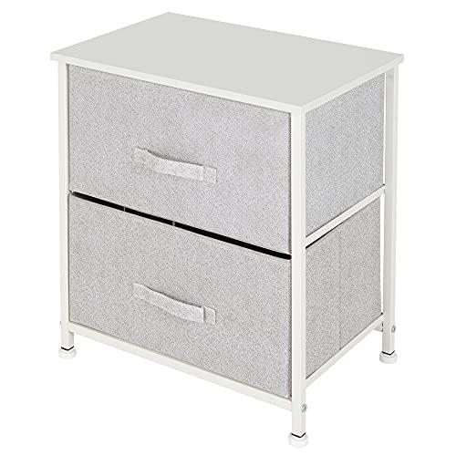 ML Design Kommode aus Stoff mit 2 Schubladen, 45x30x51 cm Weiß, Metall-Regal/MDF-Platte, Schubladenschrank Schrank Kleideraufbewahrung Sideboards Schubladenbox für Wohnzimmer, Schlafzimmer und Flur