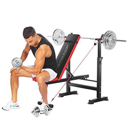 OppsDecor Banco de pesas multifunción ajustable para entrenamiento de fuerza, para gimnasio en casa, peso máximo para el usuario (rojo)