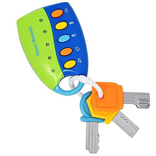 Mode Musik Smart-Remote-Auto-Schlüssel-Spielzeug Baby-Spielzeug-Smart-Remote-Key-Spielzeug-Analog Auto Soundeffekt Fernbedienung ohne Batterie Blau 1pc