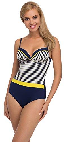 Merry Style Traje de Baño Entero 1 Pieza Monokini Bañador Mujer F28 (Patrón-333, EU Top 85D / 42 = ES (Top 100D / 44))