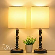 Bedside Touch Lamps Set of 2, 3-Way Dimmable Nightstand Lamp with Beige Lampshade Slub Base, Touch Control Table Lamp Modern Ambient Light for Living Room, Bedroom, Office, 6W 2700K LED Bulb Included
