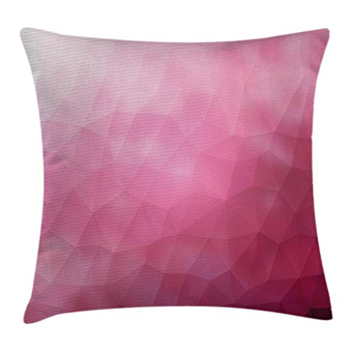 Ambesonne Modern Throw Pillow Cushion Cover, Abstract Various Shades of Gradient Toned Pink with Fragmented Effects Design, Decorative Square Accent Pillow Case, 16' X 16', Magenta Fuchsia