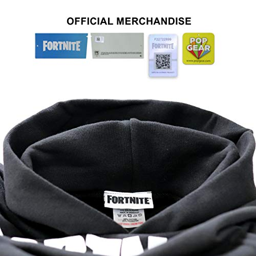 Fortnite Text Logo Boys Pullover Hoodie Black 7-8 Years   PS4 PS5 Xbox PC Gamer Gifts, Tween Teen School Boys Gaming Hooded Sweatshirt Top, Childrens Clothes, Kids Birthday Gift Idea