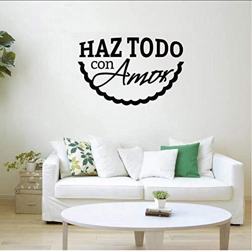 Doe alles met liefde Spaans Vinyl Wall Art Decal slaapkamer decor accessoires voor wanden op wielen eenvoudig elegant 57x89cm