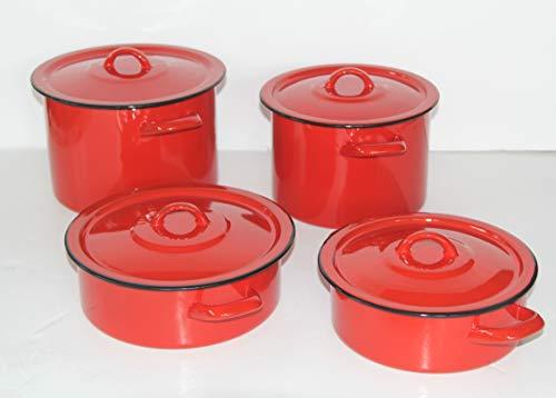 Set di 8 pentole smaltate, per induzione, con coperchio, motivo uccellino, colore: rosso