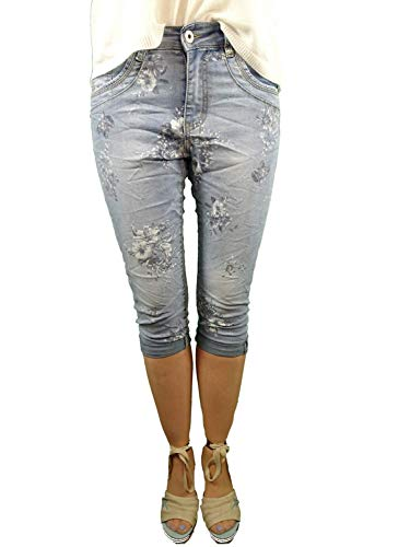 Jewelly Bermuda Shorts Capri Krempelhose Stretch Denim Jeans Blumen Denim XS-34