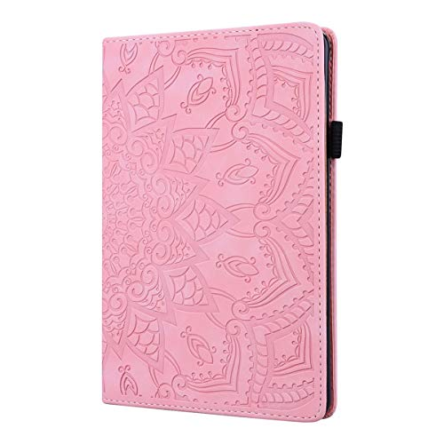 LMFULM® Hülle für Huawei MediaPad M5 Lite (10,1 Zoll) PU Lederhülle Smart Hülle Ständer Schutzhülle Flip Cover Prägung Mandala Rosa