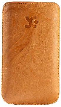 Original Suncase Echt Ledertasche (Lasche mit Rückzugfunktion) für LG P700 Optimus L7 wash-orange