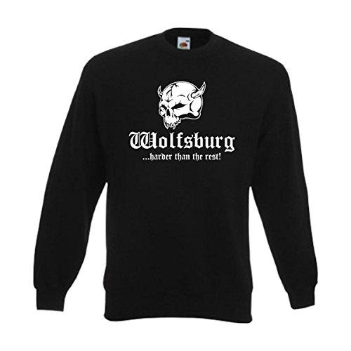 Sweatshirt Wolfsburg Harder Than The Rest, Städte Fan Pullover Herren Sweat Pulli mit Brust Druck, Totenkopf Funshirt große Größen (SFU14-20c) L