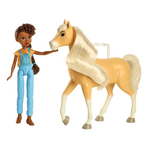 DreamWorks Spirit GXF22 - Spirit Pru Puppe (18 cm) mit 7 beweglichen Gelenken & Pferd Chica Linda (20cm) mit langer Mähne, tolles Geschenk für Kinder ab 3 Jahren