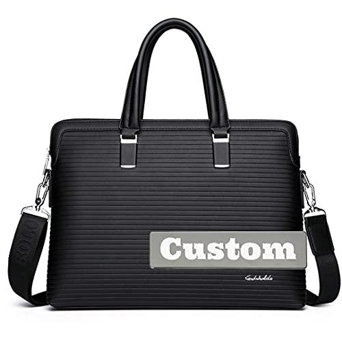 Personalizzato Nome Business File Organizer Cartella In Pelle Tote Bag Business Borse Da Viaggio Per Gli Uomini, Nero , Taglia unica,