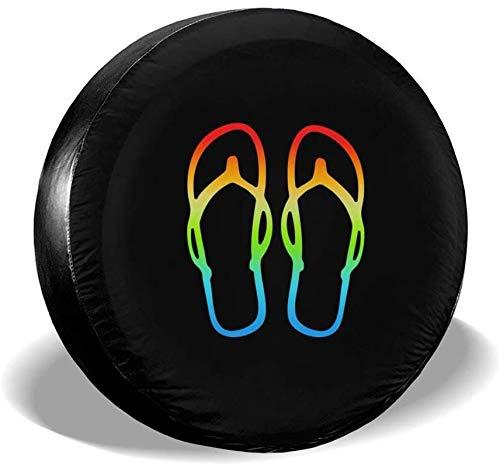 MODORSAN Rainbow Flip Flops Cubierta de neumático de Rueda de Repuesto Cubiertas de Rueda universales de poliéster para Jeep, Remolque, RV, SUV, camión, Accesorios, 17 Pulgadas