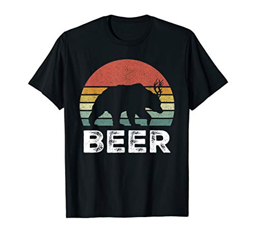 Retro Bear Deer Shirt Animal Lover Gifts Funny Beer Vintage T-Shirt