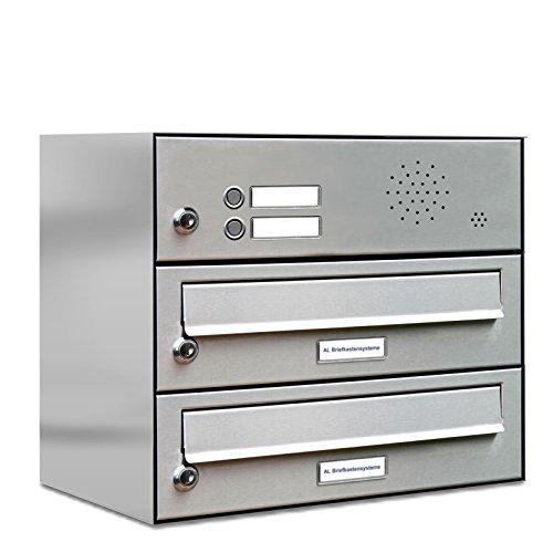 AL Briefkastensysteme 2er Briefkastenanlage mit Klingel Edelstahl, Premium Doppel-Briefkasten DIN A4, 2 Fach Postkasten modern Aufputz