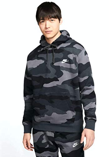 Nike Men's Sportswear Camo Club Fleece Pullover Hoodie CJ4539 (2XL, Dark Grey/Anthracite-Summit White)