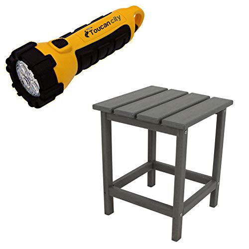 Toucan City LED Flashlight and POLYWOOD Long Island 18 in. Slate Grey Patio Side Table ECT18GY