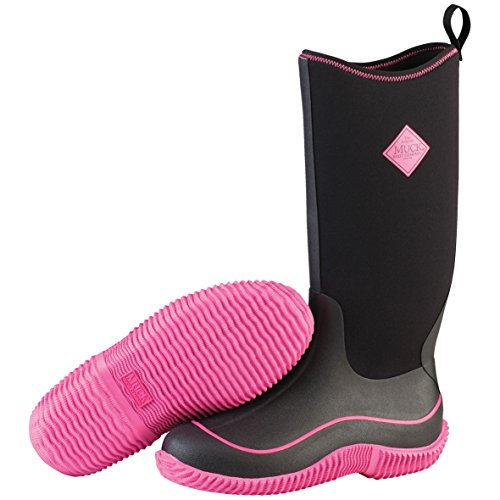 Muck Boots Hale Multi-Season Women's Rubber Boot, Black/Hot Pink, 7 M US