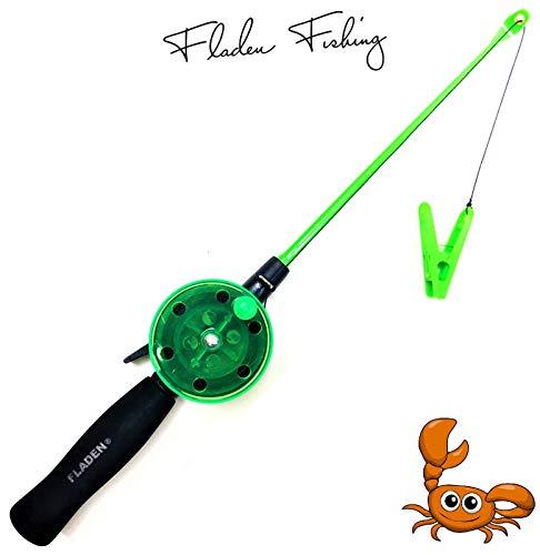 Fladen My-Fishing-World Kinderangel Krebsangel 40cm Kinder Strand & Urlaub Angel Krebs & Krabben/inkl.Schlüsselband Gratis (Grün)
