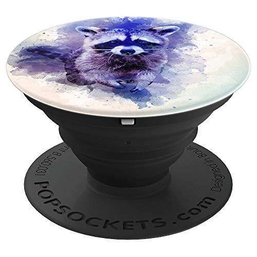 Raccoon Watercolor Design Wildlife Graphic PopSockets Grip and Stand for Phones and Tablets