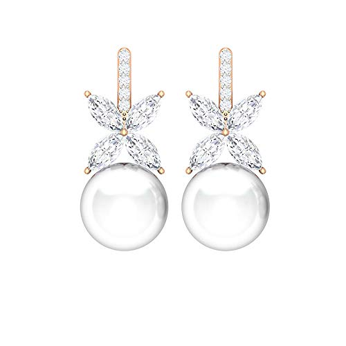 Rosec Jewels - 18 Karat Rotgold Markise Runder Brilliantschliff Rund Leicht Getöntes Weiß/Top Crystal (I) White Diamant Perle