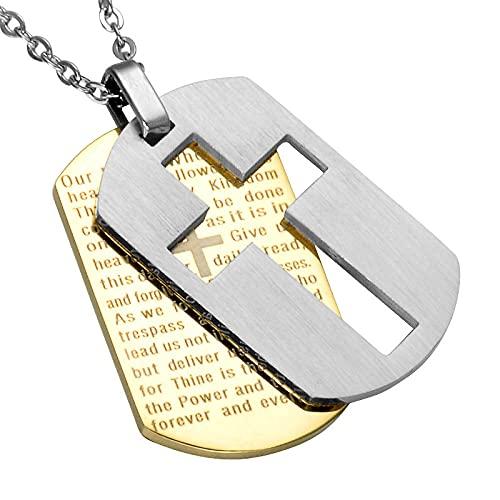 maozuzyy Collar Colgante Joyería Biblioplasses De Acero Inoxidable Cruz Collar Colgante Militar Cruzadas Católicas East-Golden Trompeta