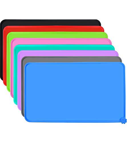 Joytale Napfunterlage Silikon, rutschfeste Hundenapf Matte für Hund und Katze, Wasserdicht,47 x 30cm, Blau