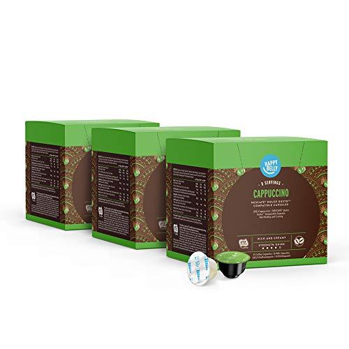 Marca Amazon - Happy Belly Cappuccino Cápsulas de Café Compatibles con NESCAFÉ Dolce Gusto - 24 Porciones (3 Paquetes x 16 Cápsulas)