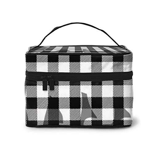 Sac de Rangement Portable Organisateur cosmétique Noir Gris Buffalo Plaid Bear Travel, Sacs de Toilette Multifonction