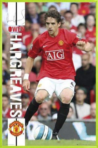 1art1 Fußball Poster und Kunststoff-Rahmen - Owen Hargreaves 07/08, Man UTD (91 x 61cm)