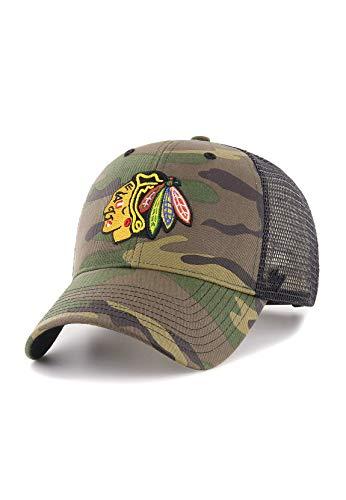 47Brand Camo Branson Trucker Cap MVP Snapback Chicago Blackhawks CBRAN04GWP-CM Camouflage, Size:ONE Size