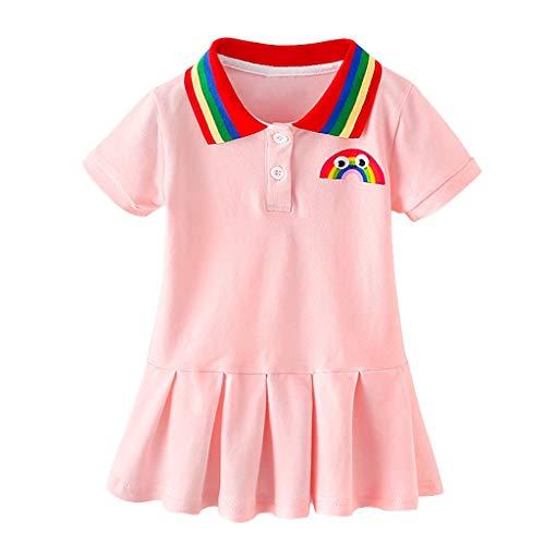 Kleid Mädchen A Line Kleinkind Kind Kurzarm Baby Faltenkleid Regenbogen Partykleid Sportkleid Prinzessin Party Freizeitkleid Gefaltetes Kleid Kleidung, Rosa, 5-6 Jahre
