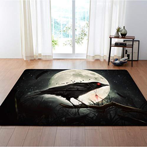 Crow Under The Moon Alfombra 3D, Alfombra/Alfombra Antideslizante Para Juegos De Sala Que Se Arrastran En La Sala De Estar Y El Área Del Dormitorio120 * 160Cm